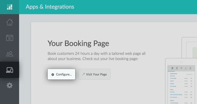 Clicking the Configure button under Apps & Integrations