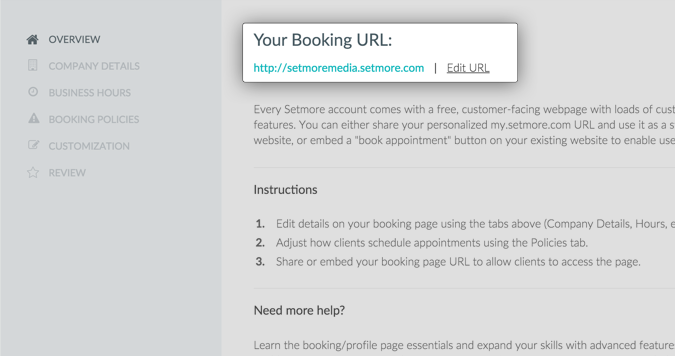 The Booking Page URL of a Setmore account